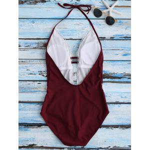 Crochet Panel Halter Backless One Piece Swimsuit - WINE RED S