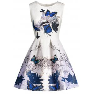 Sleeveless Butterfly Print Skater Dress
