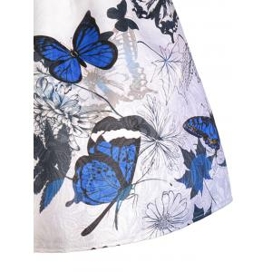 Sleeveless Butterfly Print Skater Dress - BLUE M
