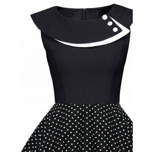 Polka Dot Swing Pin Up Dress - BLACK S