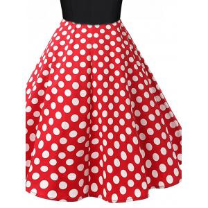 Polka Dot Swing Pin Up Dress - BLACK AND WHITE AND RED 2XL