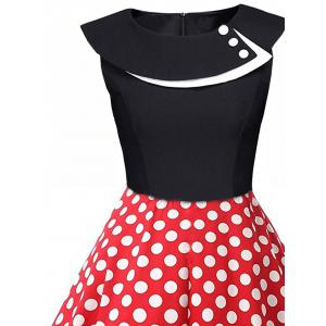 Polka Dot Swing Pin Up Dress - BLACK AND WHITE AND RED L
