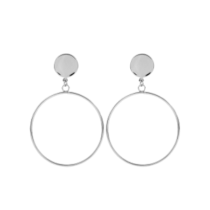 Disc Circle Earrings - Silver