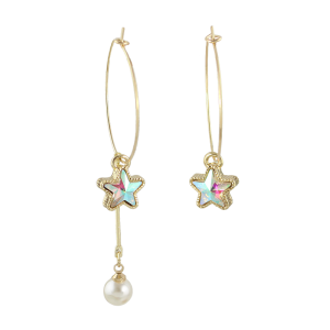 Faux Pearl Star Circle Asymmetric Earrings