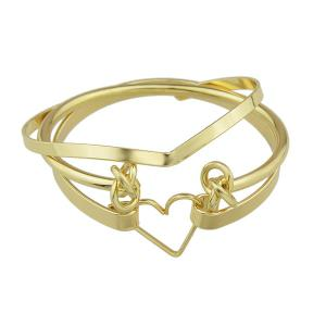 Gold Plated Heart Circle Bracelet Set - Golden