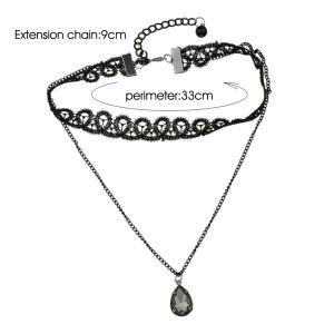 Faux Gem Lace Teardrop Choker Necklace - BLACK