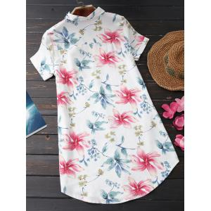 Floral Print Casual Tunic Shirt - SHALLOW PINK L