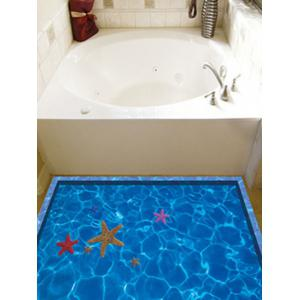 Starfish with Swimming Pool Pattern 3D Toilet Floor Stickers -