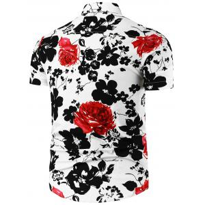 Flower Painted Short Sleeve Shirt - RED/WHITE XL