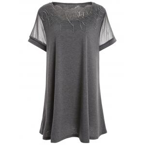 Plus Size Mesh Panel Tunic Top - Gray - 5xl