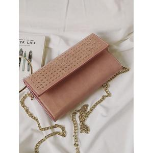 Rivet Metal Ring Clutch Bag with Chains -