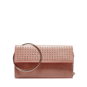 Rivet Metal Ring Clutch Bag with Chains - Pink