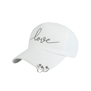 Letters Beads Metal Circle Embellished Baseball Hat - WHITE