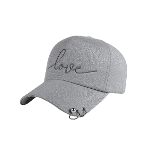 Letters Beads Metal Circle Embellished Baseball Hat - GRAY