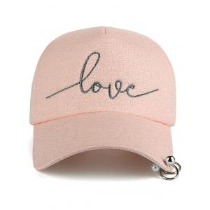 Letters Beads Metal Circle Embellished Baseball Hat -