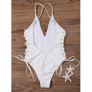 Lace Up Open Back One-Piece Swimwear - OFF-WHITE S