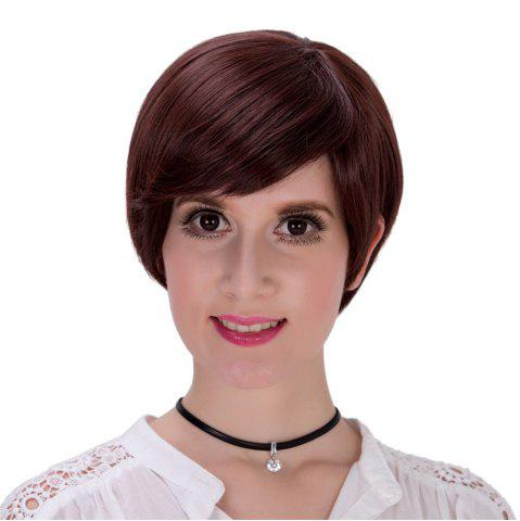 New Sophisticated Short Black Straight Synthetic Full Bang Capless Wig For Women