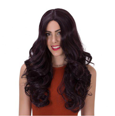 Trendy Adiors Long Fluffy Wavy Middle Parting Synthetic Wig PURPLISH RED