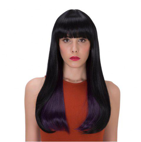 Stunning Black Purple Mixed Synthetic Straight Tail Adduction Long Adiors Wig For Women - Black And Purple