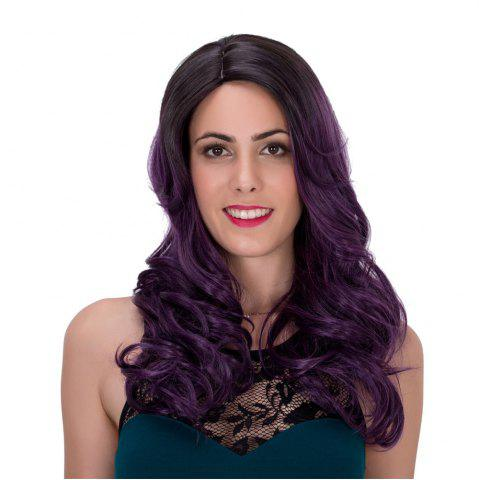 Fluffy Wavy Black Ombre Dark Purple Synthetic Trendy Long Adiors Wig For Women - Colormix