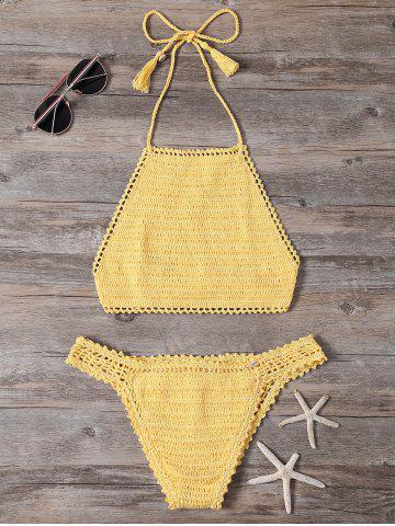 Shop Seamless Crochet Halter Crop Top Bikini YELLOW L