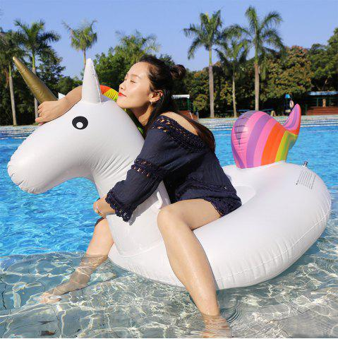 Fashion Inflatable PVC Unicorn Shape Floating Row WHITE