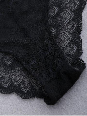 Buy Mesh Lace Scalloped Panties - ONE SIZE BLACK Mobile