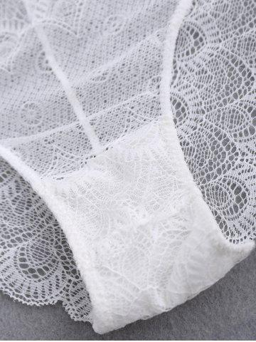 Unique Mesh Lace Scalloped Panties - ONE SIZE WHITE Mobile
