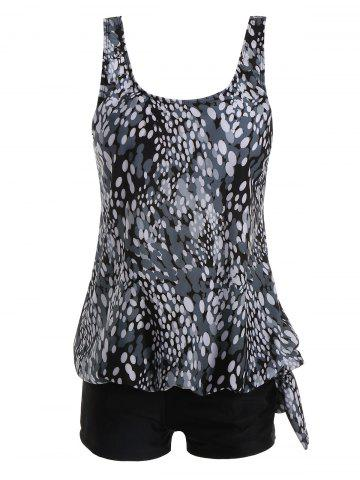 Trendy Plus Size Blouson Print Tankini - BLACK 3XL Mobile