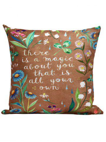 Unique Flowers Letter Printed Throw Pillow Cover Case - 45*45CM BROWN Mobile