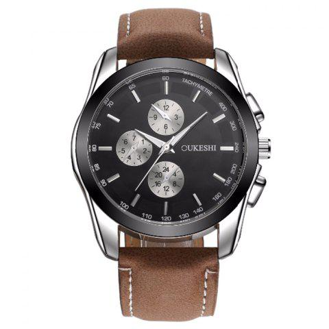 Chic OUKESHI Faux Leather Strap Tachymeter Quartz Watch - BLACK AND BROWN  Mobile