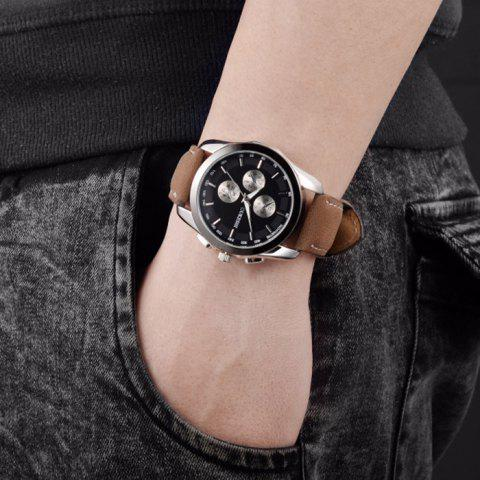 Discount OUKESHI Faux Leather Strap Tachymeter Quartz Watch - BLACK AND BROWN  Mobile