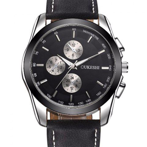 Affordable OUKESHI Faux Leather Strap Tachymeter Quartz Watch - BLACK AND BROWN  Mobile