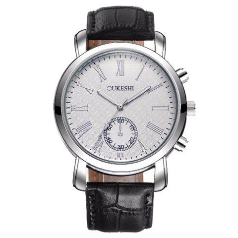 Discount OUKESHI Faux Leather Strap Roman Numeral Watch BLACK WHITE