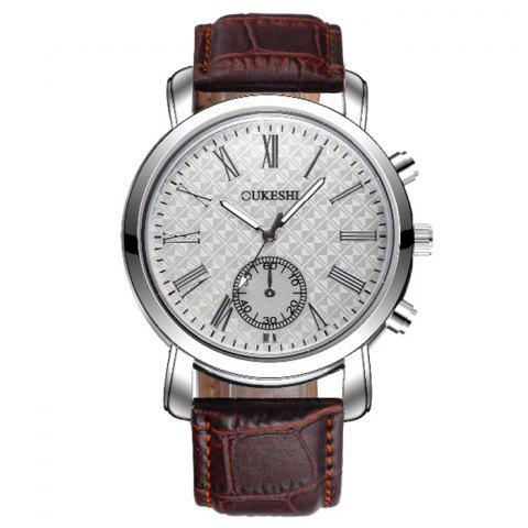 Unique OUKESHI Faux Leather Strap Roman Numeral Watch BROWN
