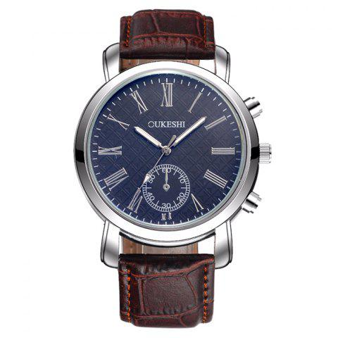 Fashion OUKESHI Faux Leather Strap Roman Numeral Watch BLUE / BROWN
