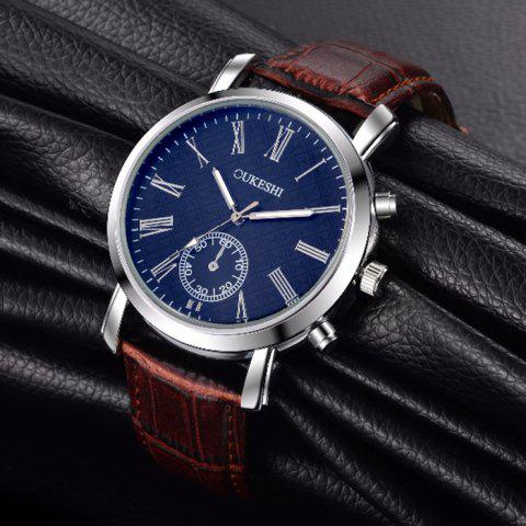 Cheap OUKESHI Faux Leather Strap Roman Numeral Watch - BLUE + BROWN  Mobile