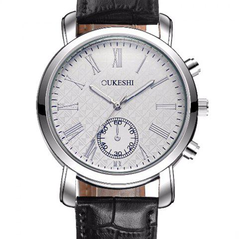 Outfit OUKESHI Faux Leather Strap Roman Numeral Watch - BLUE + BROWN  Mobile