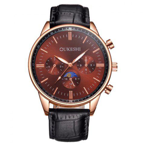 OUKESHI Faux Leather Band Number Quartz Watch - Brown