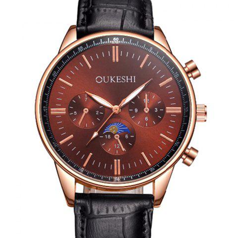 Latest OUKESHI Faux Leather Band Number Quartz Watch - BROWN  Mobile
