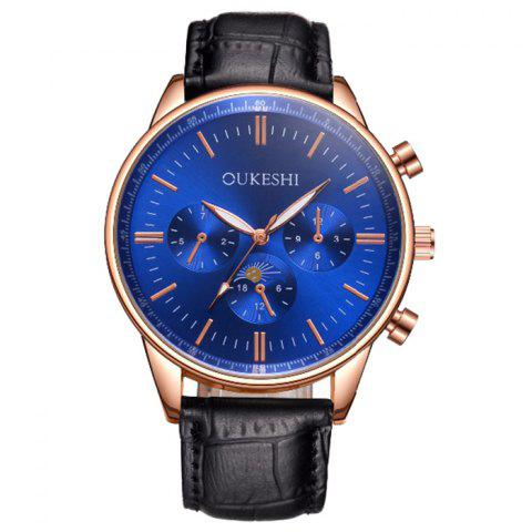 Online OUKESHI Faux Leather Band Number Quartz Watch