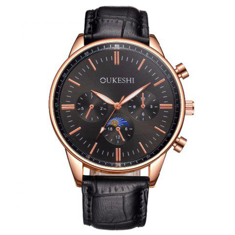 Latest OUKESHI Faux Leather Band Number Quartz Watch BLACK