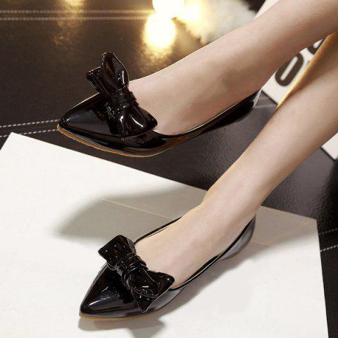 Hot Patent Leather Bowknot Flat Shoes - 39 BLACK Mobile