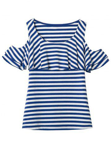 Chic Cold Shoulder Flounce Striped Tee