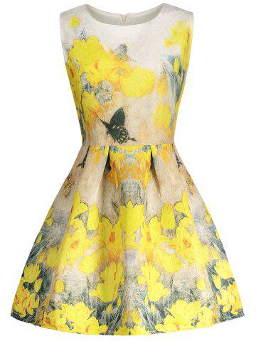 Shop Floral Print Sleeveless Skater Dress YELLOW L