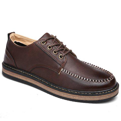 Buy Stitching Lace Casual Shoes - Brown 43