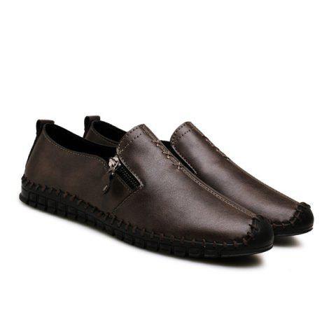 Buy Zipper Stitching Casual Shoes - Deep Brown 43