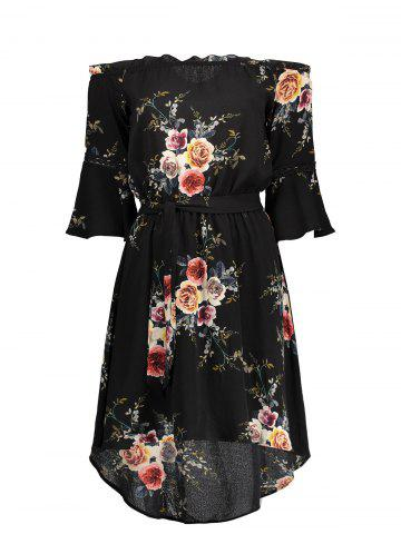 Affordable Off The Shoulder Floral Chiffon Dress BLACK S