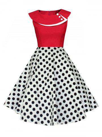 Chic Polka Dot Swing Pin Up Dress RED AND WHITE L