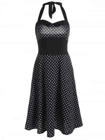 Hot Halter Polka Dot Vintage Swing Dress BLACK S
